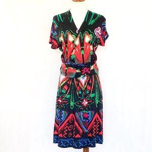 Desigual Faux Wrap Ruched Waist Pattern Dress